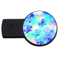 Transparent Colorful Rainbow Blue Paint Sky Usb Flash Drive Round (4 Gb) by Mariart