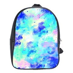 Transparent Colorful Rainbow Blue Paint Sky School Bag (large)