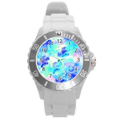 Transparent Colorful Rainbow Blue Paint Sky Round Plastic Sport Watch (l) by Mariart
