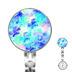 Transparent Colorful Rainbow Blue Paint Sky Stainless Steel Nurses Watch