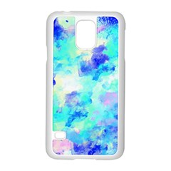 Transparent Colorful Rainbow Blue Paint Sky Samsung Galaxy S5 Case (white) by Mariart