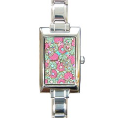 Donuts Pattern Rectangle Italian Charm Watch by ValentinaDesign