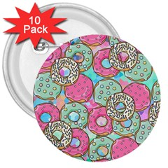 Donuts Pattern 3  Buttons (10 Pack)  by ValentinaDesign