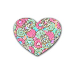 Donuts Pattern Rubber Coaster (heart)  by ValentinaDesign