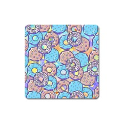 Donuts Pattern Square Magnet by ValentinaDesign