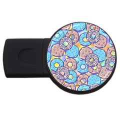 Donuts Pattern Usb Flash Drive Round (4 Gb) by ValentinaDesign
