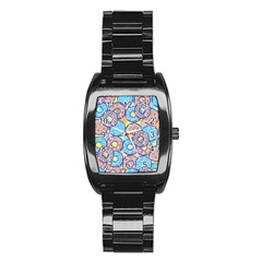 Donuts Pattern Stainless Steel Barrel Watch by ValentinaDesign