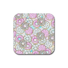 Donuts Pattern Rubber Coaster (square)  by ValentinaDesign