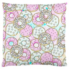 Donuts Pattern Large Flano Cushion Case (one Side) by ValentinaDesign