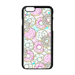 Donuts Pattern Apple Iphone 6/6s Black Enamel Case by ValentinaDesign