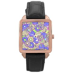 Donuts Pattern Rose Gold Leather Watch  by ValentinaDesign