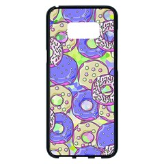 Donuts Pattern Samsung Galaxy S8 Plus Black Seamless Case by ValentinaDesign