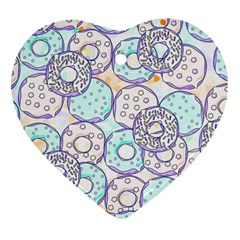 Donuts Pattern Heart Ornament (two Sides) by ValentinaDesign