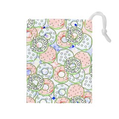 Donuts Pattern Drawstring Pouches (large)  by ValentinaDesign