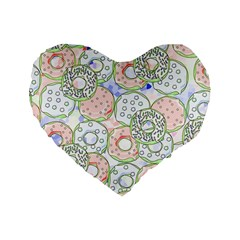 Donuts Pattern Standard 16  Premium Flano Heart Shape Cushions by ValentinaDesign