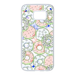 Donuts Pattern Samsung Galaxy S7 Edge White Seamless Case by ValentinaDesign