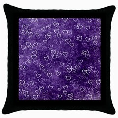 Heart Pattern Throw Pillow Case (black) by ValentinaDesign
