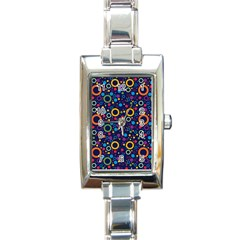 70s Pattern Rectangle Italian Charm Watch by ValentinaDesign