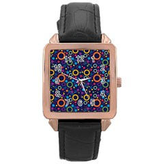 70s Pattern Rose Gold Leather Watch  by ValentinaDesign