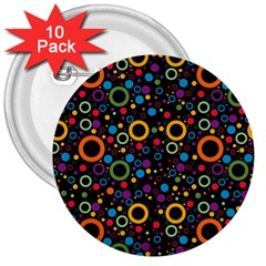 70s Pattern 3  Buttons (10 Pack)  by ValentinaDesign
