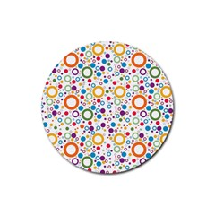 70s Pattern Rubber Round Coaster (4 Pack)  by ValentinaDesign