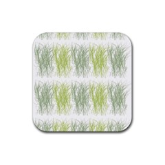 Weeds Grass Green Yellow Leaf Rubber Coaster (square)