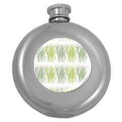 Weeds Grass Green Yellow Leaf Round Hip Flask (5 Oz) by Mariart