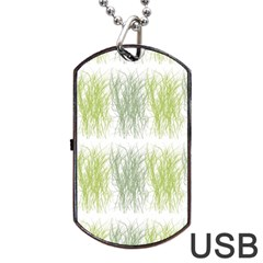 Weeds Grass Green Yellow Leaf Dog Tag Usb Flash (two Sides) by Mariart