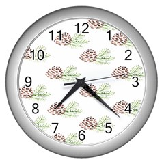 Pinecone Pattern Wall Clocks (silver)  by Mariart