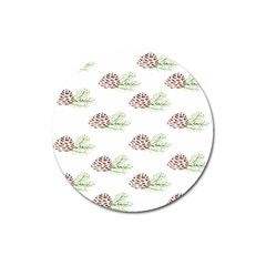 Pinecone Pattern Magnet 3  (round) by Mariart