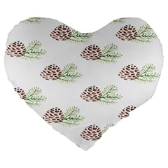 Pinecone Pattern Large 19  Premium Heart Shape Cushions by Mariart
