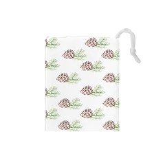 Pinecone Pattern Drawstring Pouches (small)  by Mariart