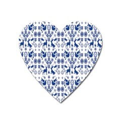 Rabbits Deer Birds Fish Flowers Floral Star Blue White Sexy Animals Heart Magnet by Mariart