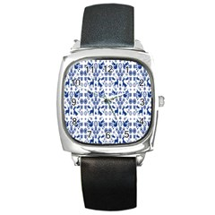 Rabbits Deer Birds Fish Flowers Floral Star Blue White Sexy Animals Square Metal Watch by Mariart