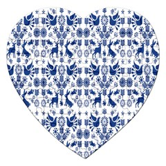 Rabbits Deer Birds Fish Flowers Floral Star Blue White Sexy Animals Jigsaw Puzzle (heart) by Mariart