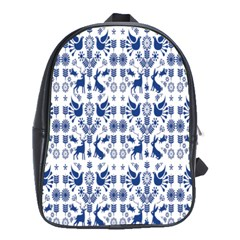 Rabbits Deer Birds Fish Flowers Floral Star Blue White Sexy Animals School Bag (large) by Mariart