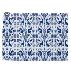 Rabbits Deer Birds Fish Flowers Floral Star Blue White Sexy Animals Cosmetic Bag (xxl)  by Mariart