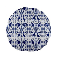 Rabbits Deer Birds Fish Flowers Floral Star Blue White Sexy Animals Standard 15  Premium Round Cushions by Mariart