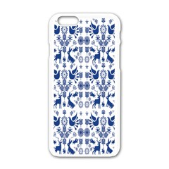 Rabbits Deer Birds Fish Flowers Floral Star Blue White Sexy Animals Apple Iphone 6/6s White Enamel Case by Mariart