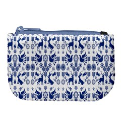 Rabbits Deer Birds Fish Flowers Floral Star Blue White Sexy Animals Large Coin Purse by Mariart
