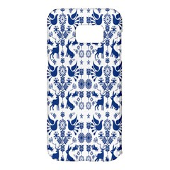 Rabbits Deer Birds Fish Flowers Floral Star Blue White Sexy Animals Samsung Galaxy S7 Edge Hardshell Case by Mariart