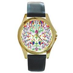Peacock Rainbow Animals Bird Beauty Sexy Round Gold Metal Watch by Mariart
