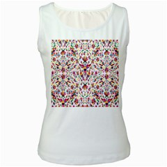 Peacock Rainbow Animals Bird Beauty Sexy Flower Floral Sunflower Star Women s White Tank Top by Mariart