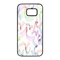 Rainbow Green Purple Pink Red Blue Pattern Zommed Samsung Galaxy S7 Edge Black Seamless Case by Mariart