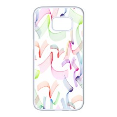 Rainbow Green Purple Pink Red Blue Pattern Zommed Samsung Galaxy S7 Edge White Seamless Case by Mariart