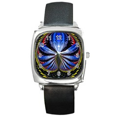 Illustration Robot Wave Square Metal Watch by Mariart