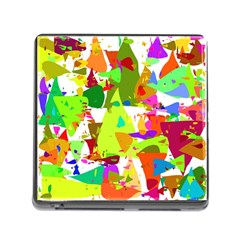 Colorful Shapes On A White Background                             Memory Card Reader (square) by LalyLauraFLM