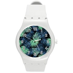 Tropical Pattern Round Plastic Sport Watch (m) by ValentinaDesign
