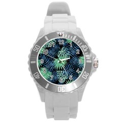 Tropical Pattern Round Plastic Sport Watch (l) by ValentinaDesign