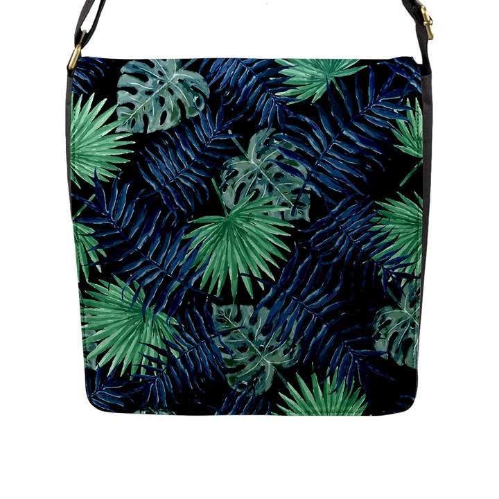 Tropical pattern Flap Messenger Bag (L)